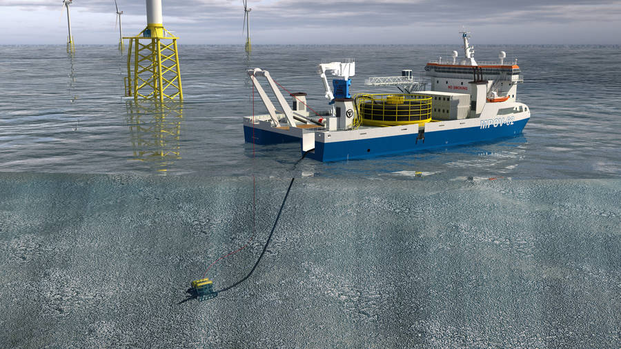 The MPOV-62 mobilized as cable laying vessel